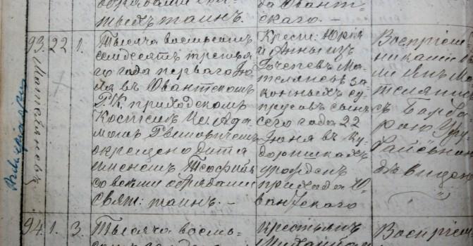Teofiliaus krikštas. 1873 06 22. Alantos bažnyčios metrika