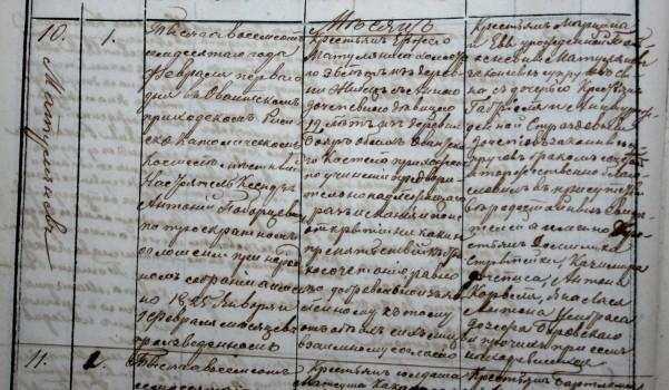 Teofiliaus tėvo Jurgio Matulionio ir motinos Onos santuoka 1870 02 01