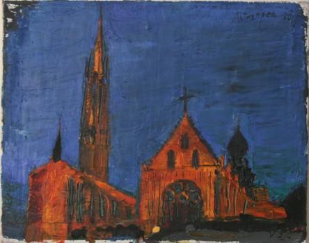 Antwerpeno katedra. Naktis. 2015