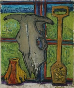 III Karvės kaukolė, žvakidė ir linų šukos. 2010
